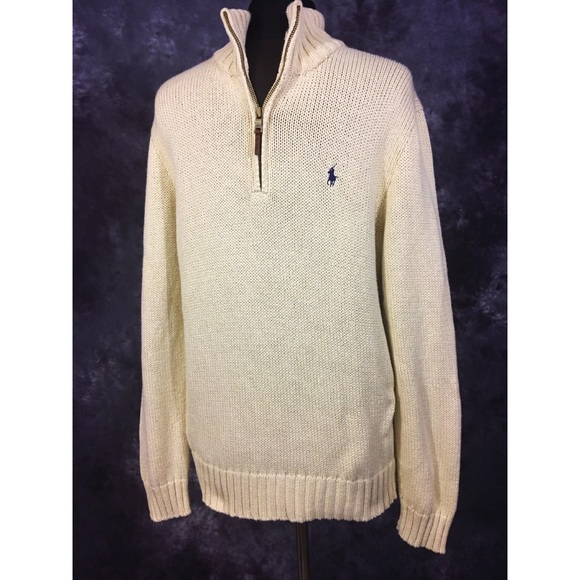 Lauren Pullover Medium Sweater Ralph Zip Polo Half DHEW9YI2